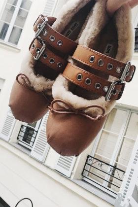 欧美明星同款冬季新款浅口皮带扣加绒棉鞋平底一脚蹬女保暖豆豆鞋$
