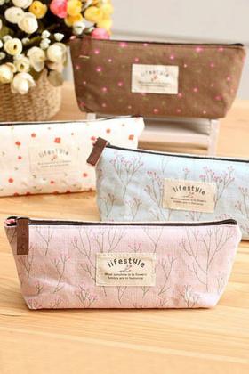 小碎花笔袋文具袋 韩国女小清新简约女生帆布可爱铅笔盒