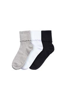 蘑菇優選 3雙入女式日係堆堆襪子 木耳邊全棉款 -淘寶代購
