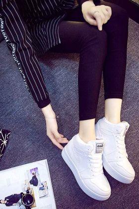 高帮鞋搭配女_冬季保暖内增高高帮厚底运动鞋女学生休闲鞋纯色系带小白鞋