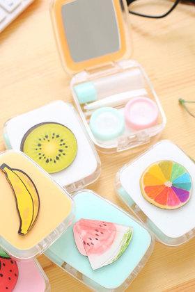 可爱水果隐形眼镜盒套装学生伴侣双联护理盒男女小