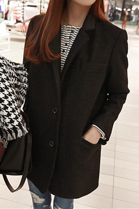 韩版西装领百搭中长款茧型宽松毛呢外套图片