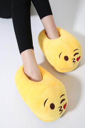 冬季韩版棉拖鞋女卡通可爱个性表情包居家情侣拖鞋图片