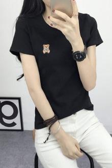 韩版刺绣卡通小熊短袖女t恤夏季显瘦百搭女士上衣简约女装衣服$29.9