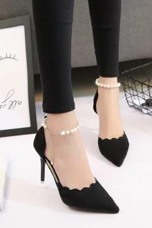 新款浅口单鞋女细跟尖头高跟鞋一字扣凉鞋时尚女鞋$69.3-水钻红色